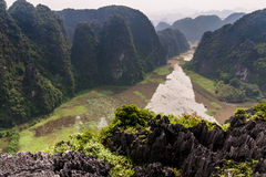 Karstic landscape from Hang Mua pagoda Stock Photos