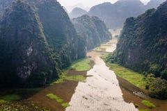 Karstic landscape from Hang Mua pagoda Royalty Free Stock Photo