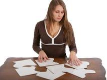 kart łamigłówki kobieta zdjęcie stock