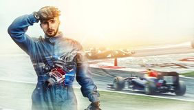 Kart пересекая гонщика финишной черты стоковое изображение rf