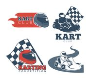 Kart club promotional emblems set with protective helmets. Professional drivers, checkered flag, red flame and compact sport vehicle isolated cartoon flat Royalty Free Stock Photography