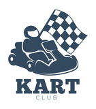 Kart club promotional monochrome emblem with racer in helmet. That sits in vehicle and holds checkered flag isolated cartoon flat vector illustrations on white Stock Photography