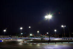 Kart course. Course go-kart racetrack on night time Stock Photos