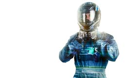 Kart crossing the finish line racer. Helmet. effects isolated Stock Images
