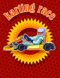 Kart. Driver in color background Royalty Free Stock Images