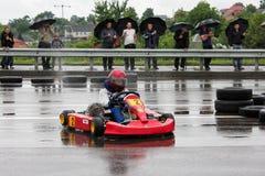 Kart het rennende of karting verschuiven karts stock fotografie
