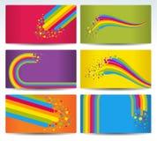kart koloru tęcza sześć ilustracji