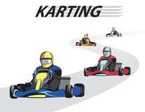 Kart konkurrens Karting konkurrens, mästerskap, vinnare stock illustrationer