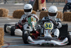 Kart pilots. Unknown pilots competing in the race Trophy of Town Sanremo - 7th Memorial Luca Guazzoni 03-05.05.2013 Sanremo Italy Royalty Free Stock Photography
