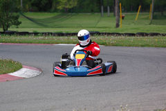 Kart Racer. Small open-wheeled kart doing some practice laps before the big event Royalty Free Stock Images