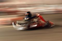 Kart racing. Full speed on the track by kart stock photo