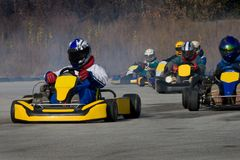Kart Racing. Cards - a sporting car Participating in races Stock Photos