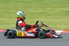 Kart racing. High speed Kart racing with motion blurred background stock photo