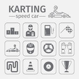 Kart racing, karting, motorsport, driver equipment. Thin line icon set. Stock Image