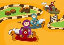 Kart racing track. Vector illustration of happy kids in a kart racing Royalty Free Stock Image