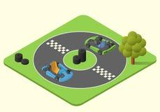 Kart sport car. Isometric illustration. karting race lap picture Stock Photos