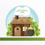 Karta dla St Patrick dnia Leprechaun dom i garnek z złotymi monetami Kreskówka śmieszny styl Fotografia Stock