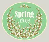 Karta dla wiosna sezonu z ramą i wierzbą wektor royalty ilustracja