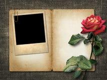 Karta dla zaproszenia lub gratulacje z czerwieni różą i starym fotem Fotografia Royalty Free