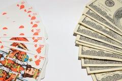 Karta do gry Dolarowi banknoty w fan z rzędu obrazy stock