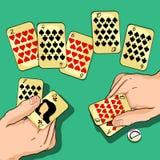 Karta do gry w rękach dwa również zwrócić corel ilustracji wektora royalty ilustracja