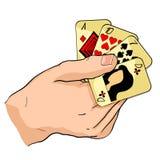Karta do gry w rękach również zwrócić corel ilustracji wektora ilustracji