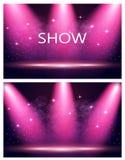 karta dwa Wpisowy przedstawienie Iluminacja scena, podium, światła reflektorów Confetti lata Purpurowy tło ilustracji