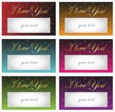 Karta kocham Ciebie - złoty tekst na tle czerwoni serca Fotografia Royalty Free