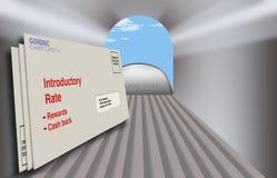 Karta kredytowa oferuje i promocje w kopertach zobaczą od wśrodku skrzynki pocztowej patrzeje zewnętrzne Zakończenie w górę, szer royalty ilustracja