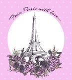 Karta - powitanie Paryska podróż Zdjęcia Stock