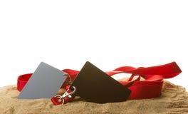 Karta w piasku Obraz Stock