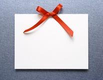 Karta z łękiem czerwony faborek Obrazy Royalty Free
