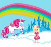 Karta z śliczną jednorożec i cukierki dziewczyną Fotografia Stock