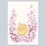 Karta z ślicznej ręki menchii i kota rysunkowymi roślinami ilustracji