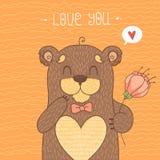 Karta z Ślicznym niedźwiedziem Zdjęcie Stock