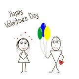 Karta z balonami chłopiec i dziewczyna Fotografia Stock