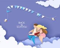 Karta z chłopiec i dziewczyny czytelniczą książką Obraz Royalty Free