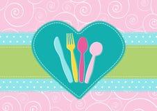 Karta z cutlery w sercu Zdjęcia Stock