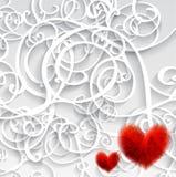 Karta z czerwonym sercem i wzorem. Obrazy Stock