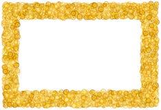 Karta z dużo przekładnie Złoto granica migotliwy Złota rama przekładnie zdjęcie stock