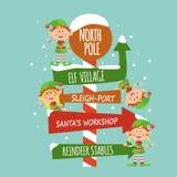 Karta z elfami i znak biegun północny royalty ilustracja