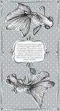 Karta z Goldfish akwareli wektorową ilustracją Zdjęcie Royalty Free