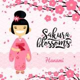 Karta z Japońską dziewczyną, han festiwal, Sakura okwitnięcia sezon Wektorowa ilustracja płaski projekt royalty ilustracja