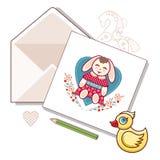 Karta z kopertą na białym tle wektor Fotografia Royalty Free