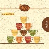 Karta z kreślić herbacianymi filiżankami dla menu projekta lub sieć szablonu Ręka rysujący barwiący kubki z geometrycznym ornamen royalty ilustracja