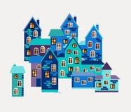 Karta z ślicznymi domami Miasteczko w zimie Obraz Stock