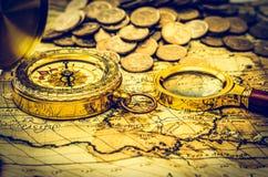 Karta z monetami obrazy royalty free