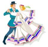Karta z parą tanczy Bałtyckiego ludowego tana Obrazy Royalty Free