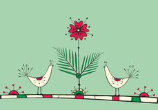 Karta z ptakami i miłość kwiatem Zdjęcia Stock