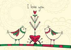 Karta z ptakami i miłości drzewem Obraz Royalty Free